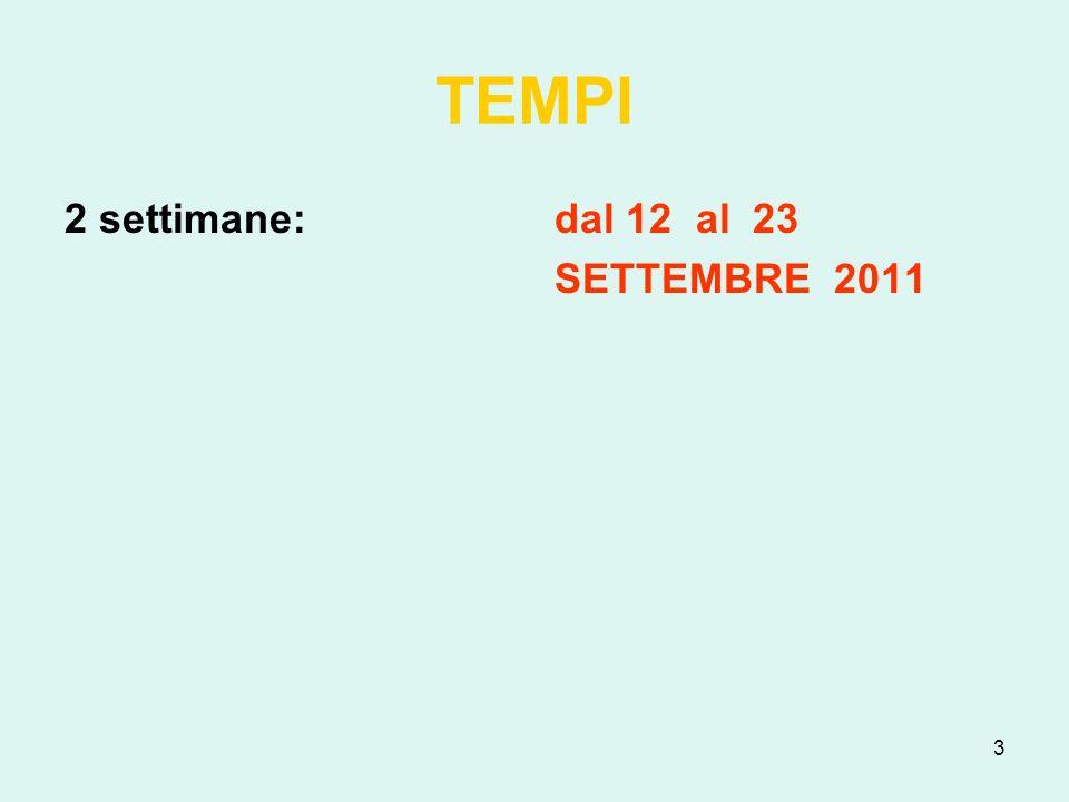 TEMPI 2 settimane: dal 12 al 23 SETTEMBRE 2011