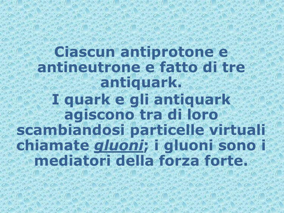 Ciascun antiprotone e antineutrone e fatto di tre antiquark