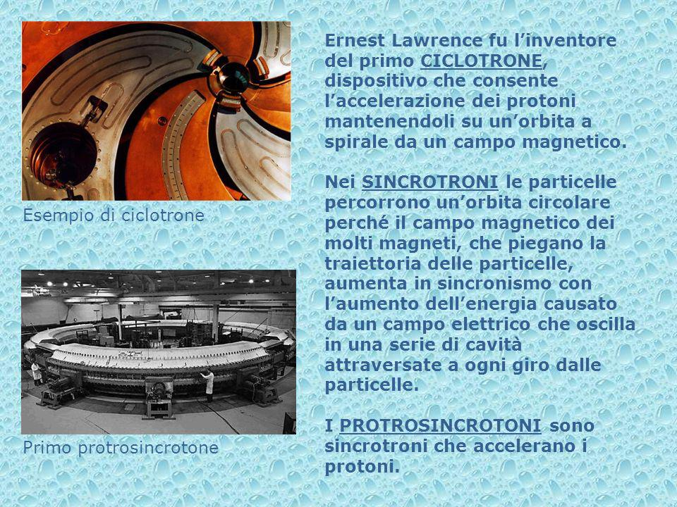 Ernest Lawrence fu l'inventore del primo CICLOTRONE, dispositivo che consente l'accelerazione dei protoni mantenendoli su un'orbita a spirale da un campo magnetico.