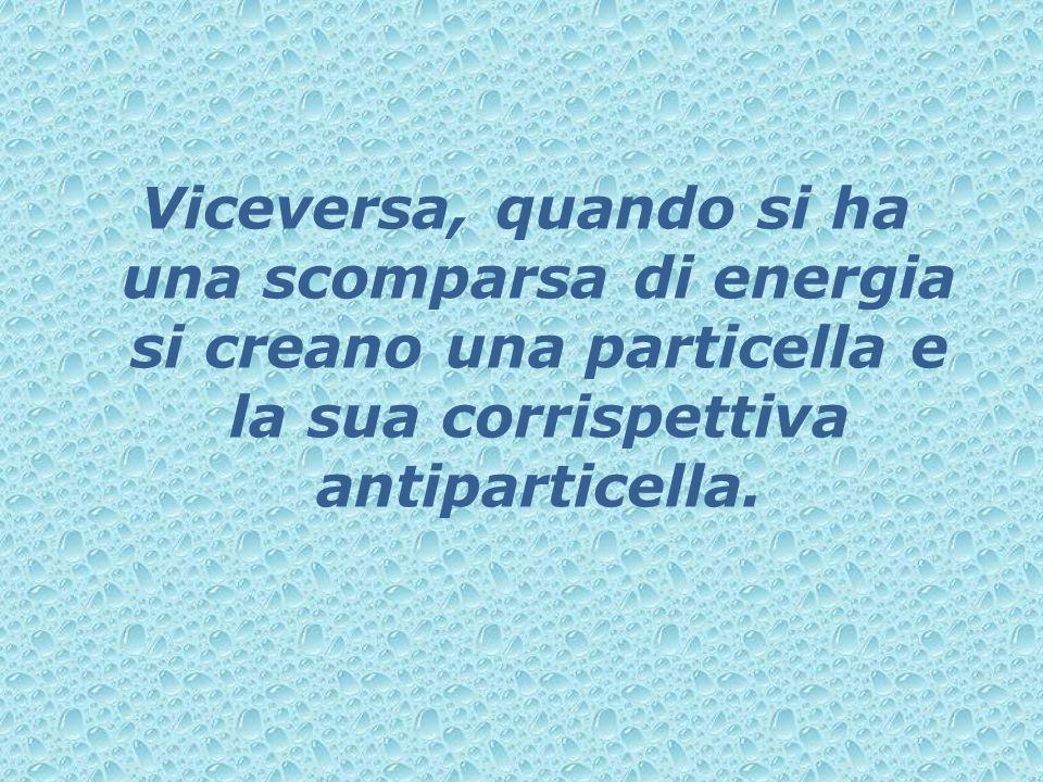 Viceversa, quando si ha una scomparsa di energia si creano una particella e la sua corrispettiva antiparticella.