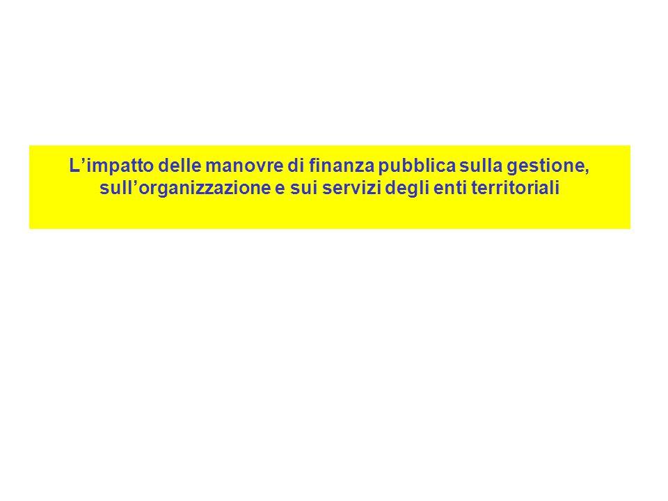 L'impatto delle manovre di finanza pubblica sulla gestione, sull'organizzazione e sui servizi degli enti territoriali