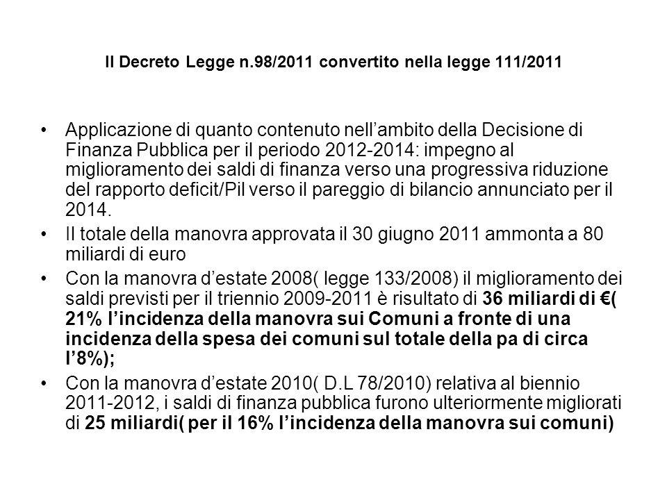 Il Decreto Legge n.98/2011 convertito nella legge 111/2011