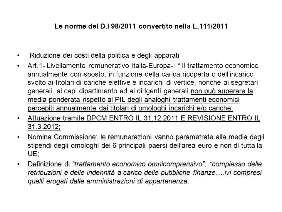 Le norme del D.l 98/2011 convertito nella L.111/2011