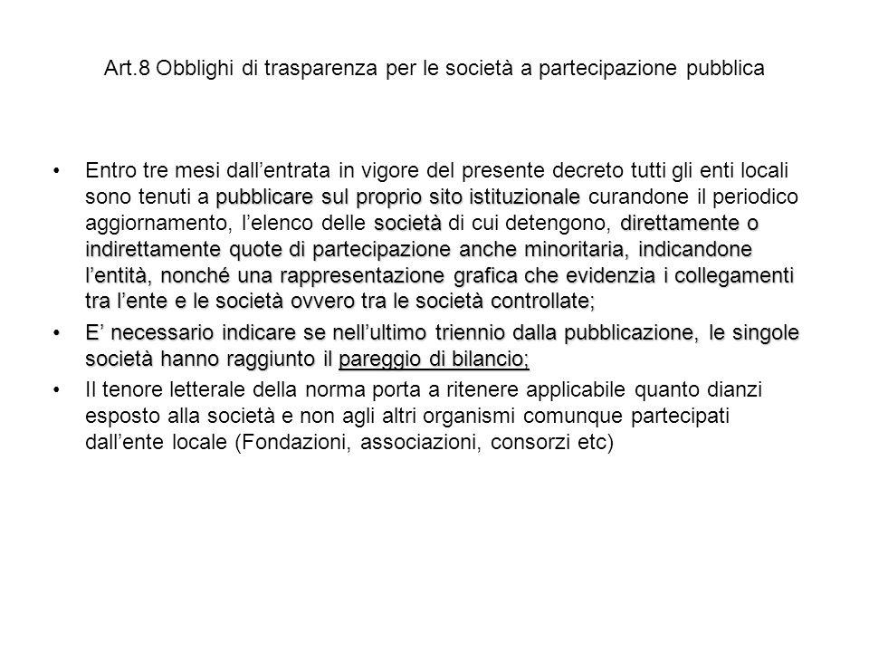 Art.8 Obblighi di trasparenza per le società a partecipazione pubblica