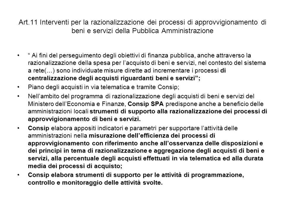 Art.11 Interventi per la razionalizzazione dei processi di approvvigionamento di beni e servizi della Pubblica Amministrazione