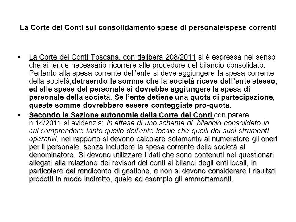 La Corte dei Conti sul consolidamento spese di personale/spese correnti