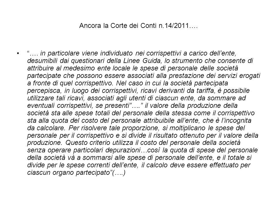 Ancora la Corte dei Conti n.14/2011….