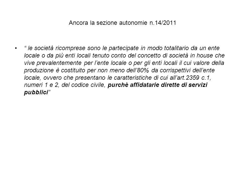 Ancora la sezione autonomie n.14/2011