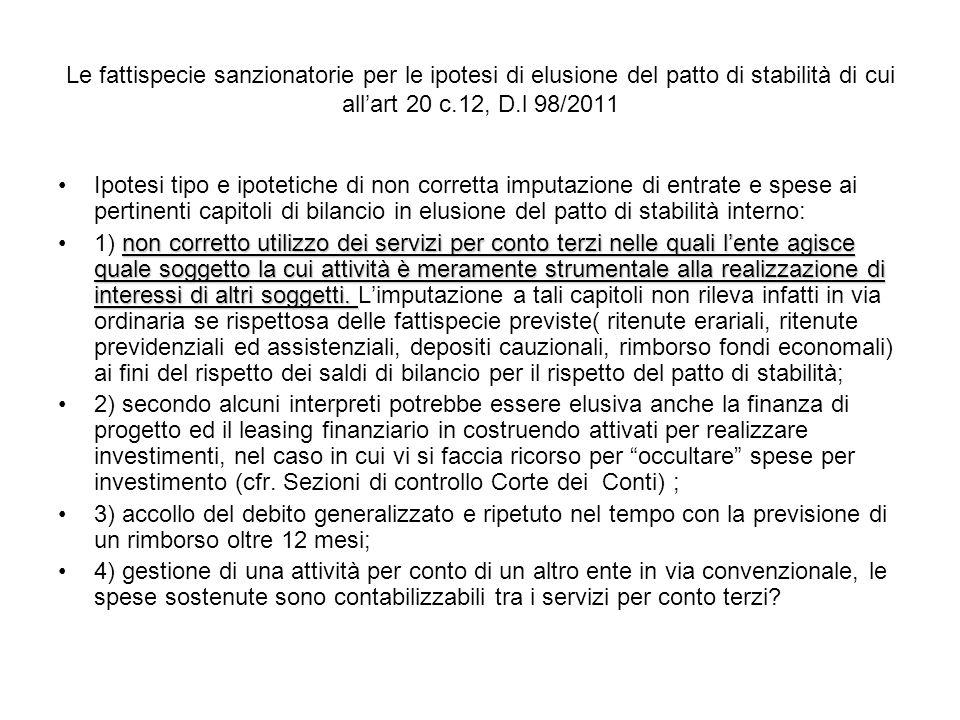 Le fattispecie sanzionatorie per le ipotesi di elusione del patto di stabilità di cui all'art 20 c.12, D.l 98/2011
