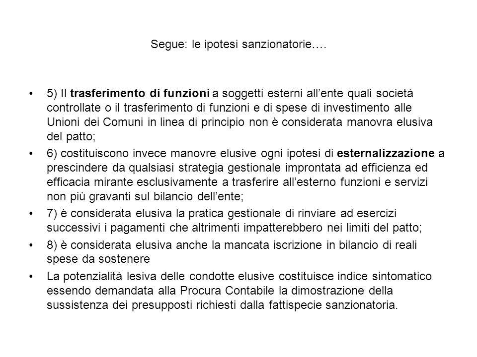 Segue: le ipotesi sanzionatorie….