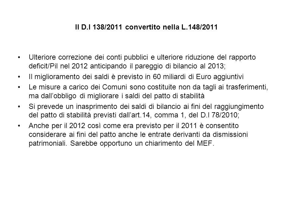 Il D.l 138/2011 convertito nella L.148/2011