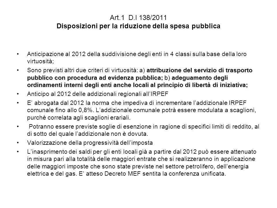 Art.1 D.l 138/2011 Disposizioni per la riduzione della spesa pubblica