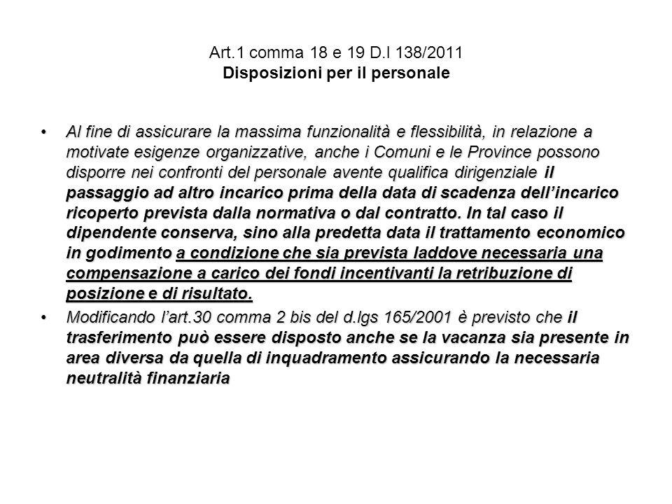 Art.1 comma 18 e 19 D.l 138/2011 Disposizioni per il personale
