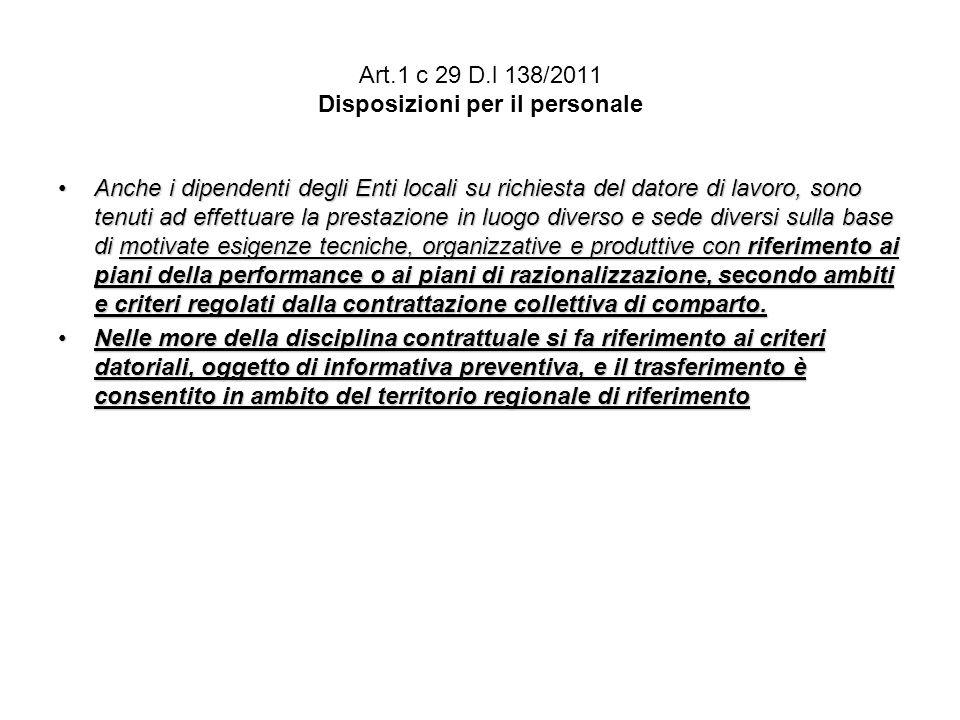 Art.1 c 29 D.l 138/2011 Disposizioni per il personale