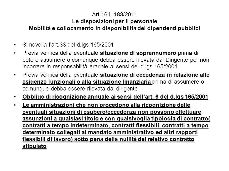 Art.16 L.183/2011 Le disposizioni per il personale Mobilità e collocamento in disponibilità dei dipendenti pubblici