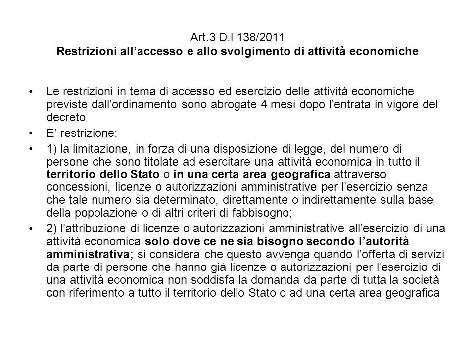 Art.3 D.l 138/2011 Restrizioni all'accesso e allo svolgimento di attività economiche