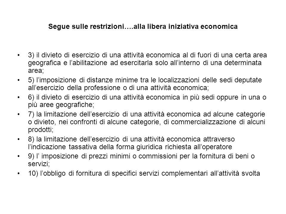 Segue sulle restrizioni….alla libera iniziativa economica