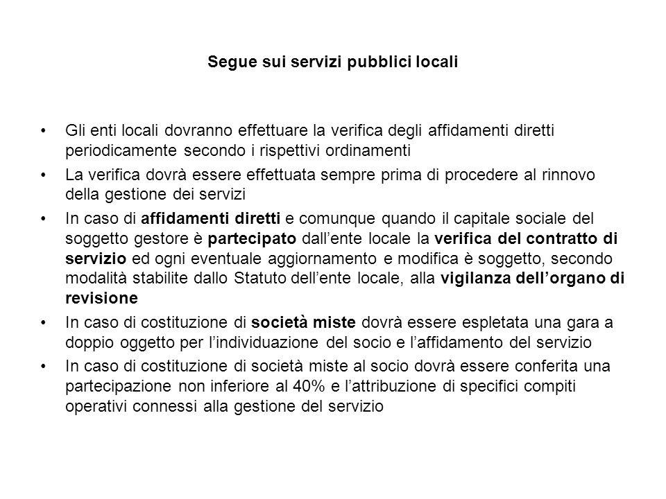 Segue sui servizi pubblici locali