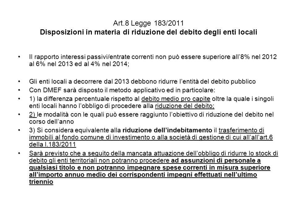 Art.8 Legge 183/2011 Disposizioni in materia di riduzione del debito degli enti locali
