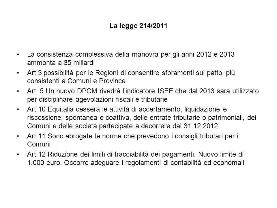 La legge 214/2011 La consistenza complessiva della manovra per gli anni 2012 e 2013 ammonta a 35 miliardi.