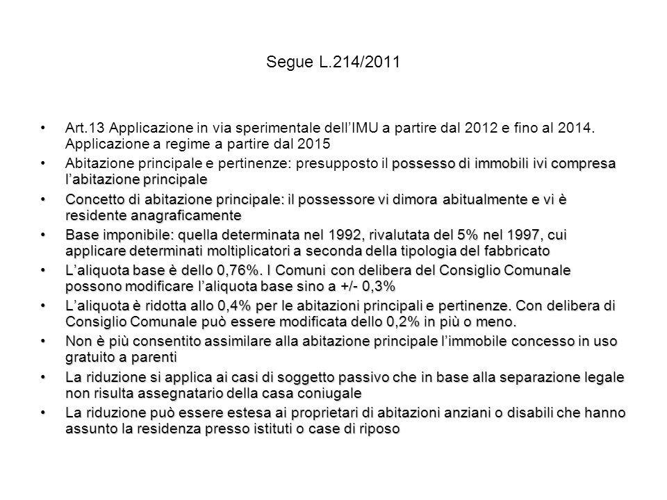 Segue L.214/2011 Art.13 Applicazione in via sperimentale dell'IMU a partire dal 2012 e fino al 2014. Applicazione a regime a partire dal 2015.