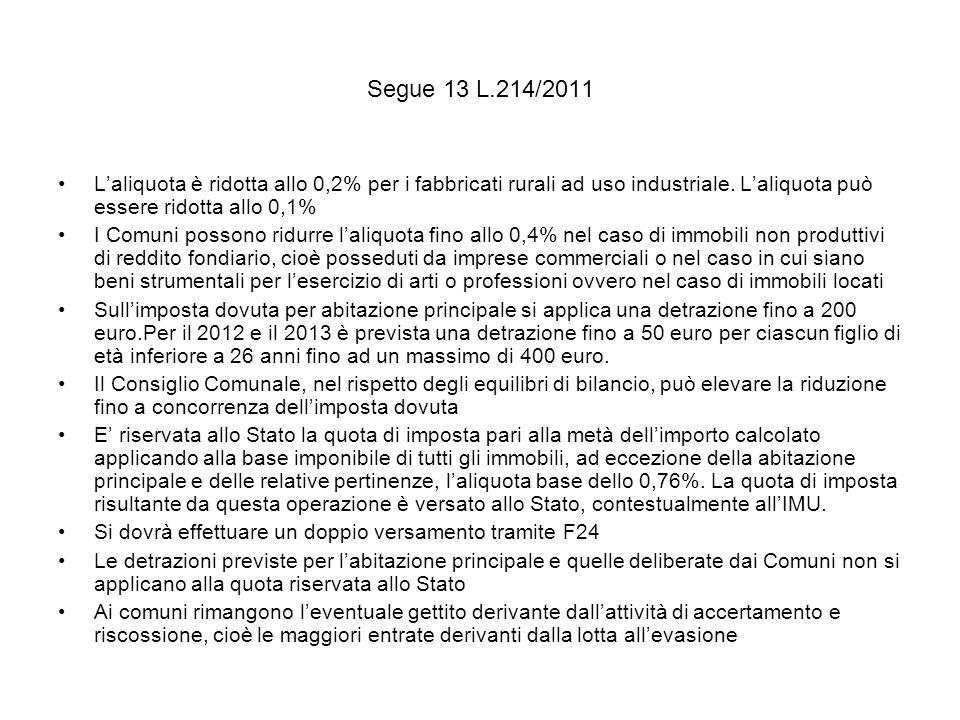 Segue 13 L.214/2011 L'aliquota è ridotta allo 0,2% per i fabbricati rurali ad uso industriale. L'aliquota può essere ridotta allo 0,1%