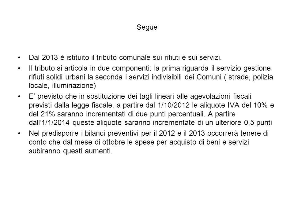 Segue Dal 2013 è istituito il tributo comunale sui rifiuti e sui servizi.