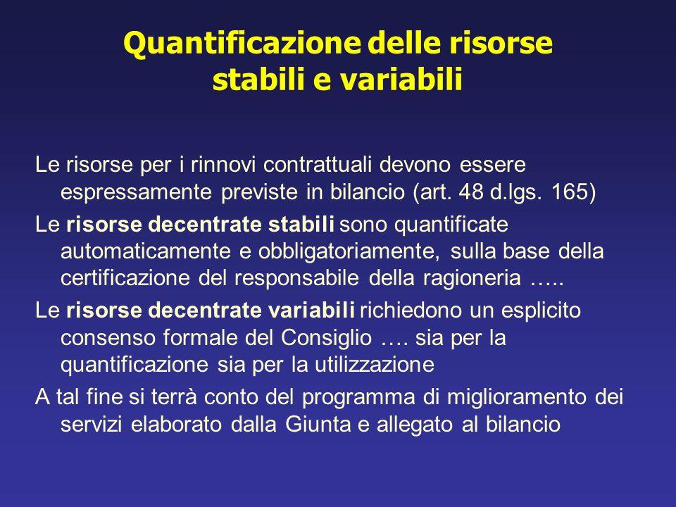 Quantificazione delle risorse stabili e variabili