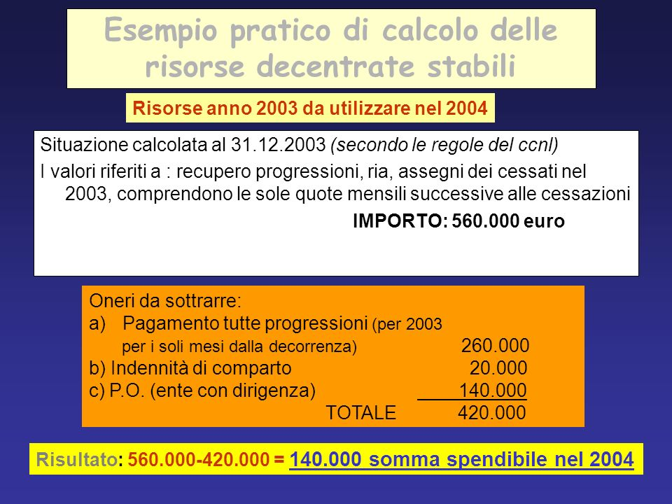 Esempio pratico di calcolo delle risorse decentrate stabili