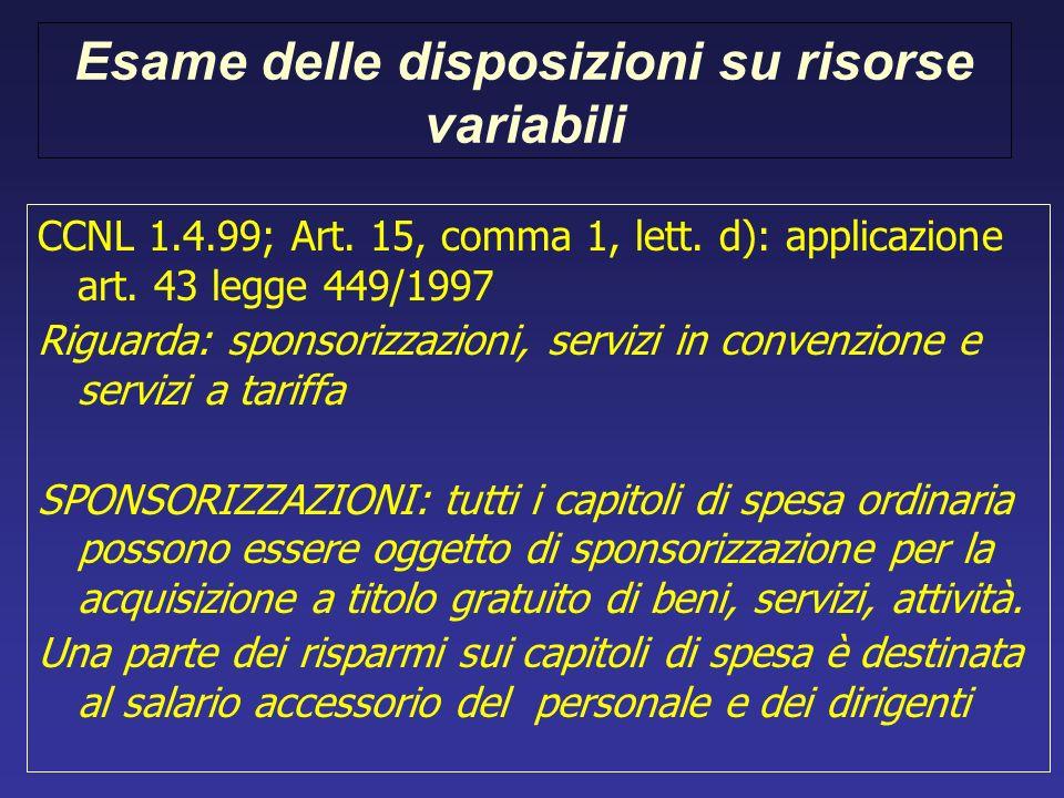 Esame delle disposizioni su risorse variabili