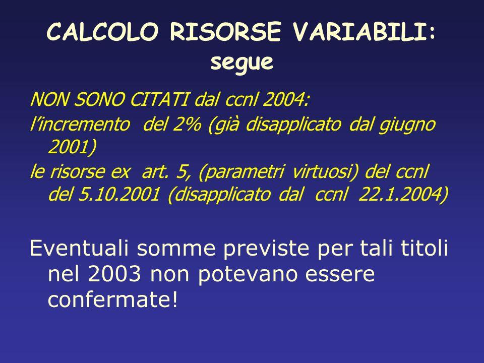 CALCOLO RISORSE VARIABILI: segue
