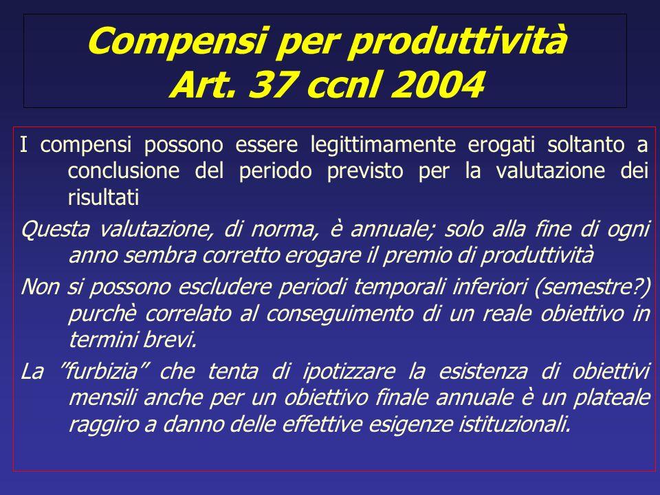 Compensi per produttività Art. 37 ccnl 2004