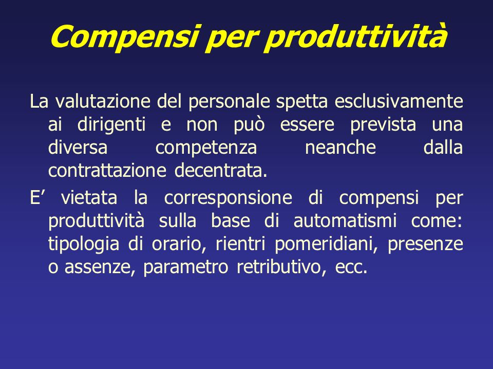 Compensi per produttività