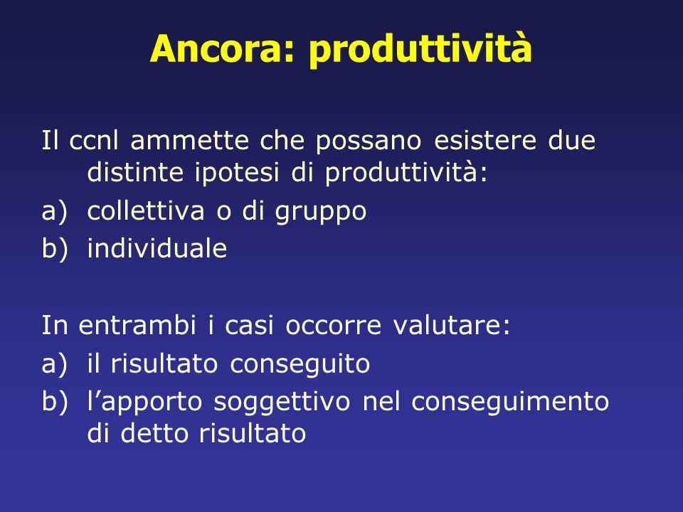 Ancora: produttivitàIl ccnl ammette che possano esistere due distinte ipotesi di produttività: collettiva o di gruppo.