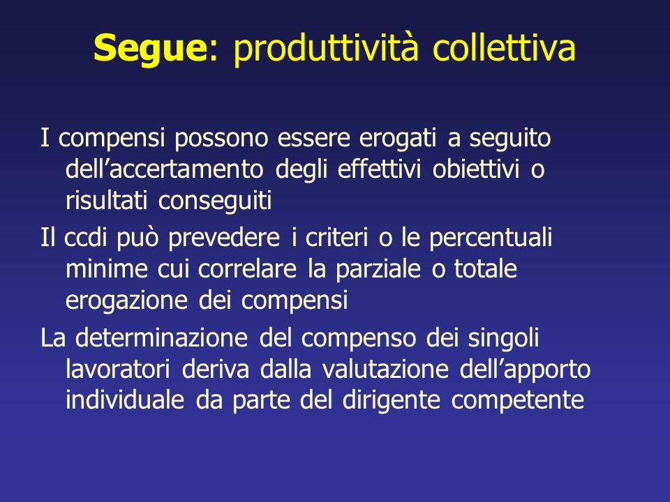 Segue: produttività collettiva
