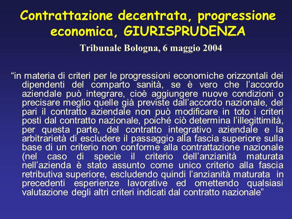 Contrattazione decentrata, progressione economica, GIURISPRUDENZA Tribunale Bologna, 6 maggio 2004