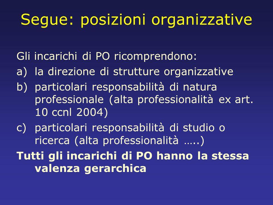 Segue: posizioni organizzative