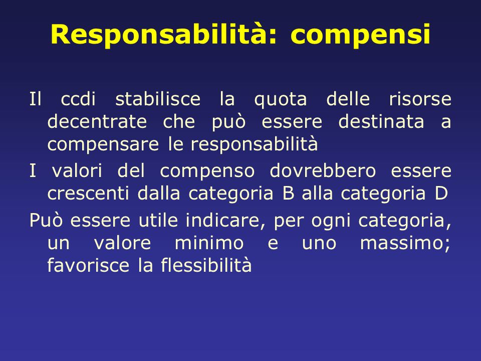 Responsabilità: compensi