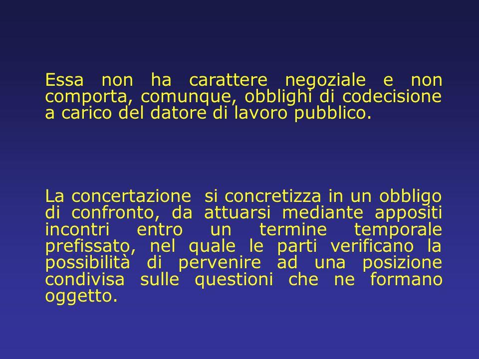 Essa non ha carattere negoziale e non comporta, comunque, obblighi di codecisione a carico del datore di lavoro pubblico.
