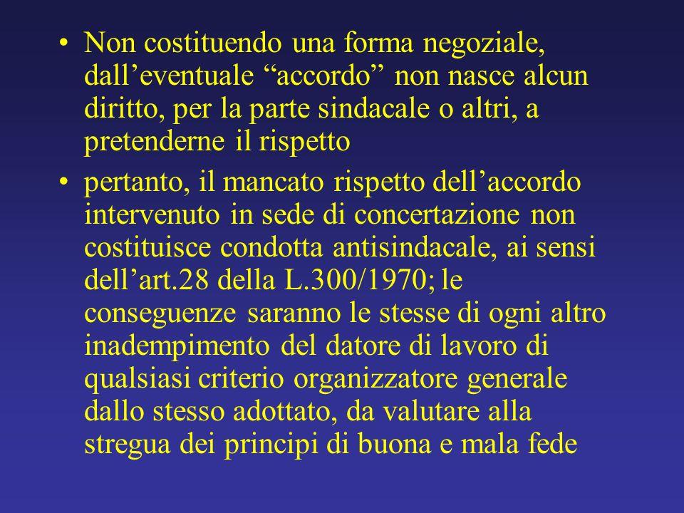 Non costituendo una forma negoziale, dall'eventuale accordo non nasce alcun diritto, per la parte sindacale o altri, a pretenderne il rispetto