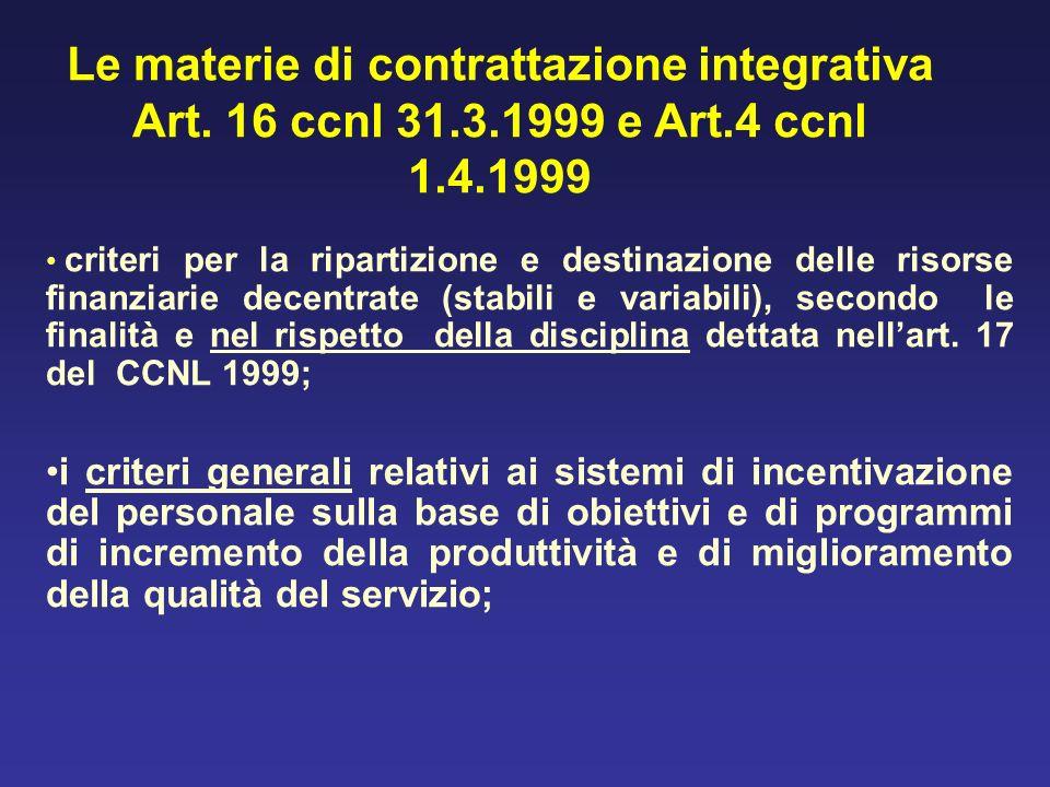 Le materie di contrattazione integrativa