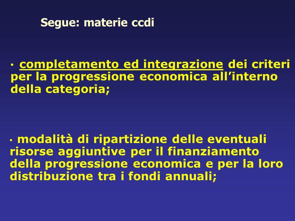 Segue: materie ccdicompletamento ed integrazione dei criteri per la progressione economica all'interno della categoria;