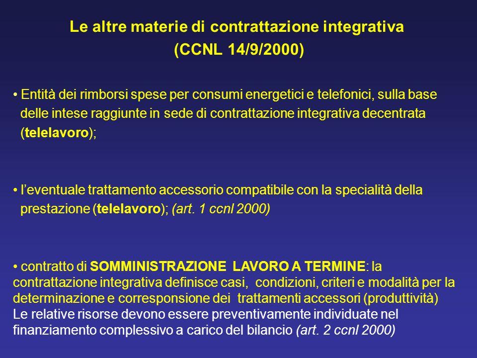 Le altre materie di contrattazione integrativa