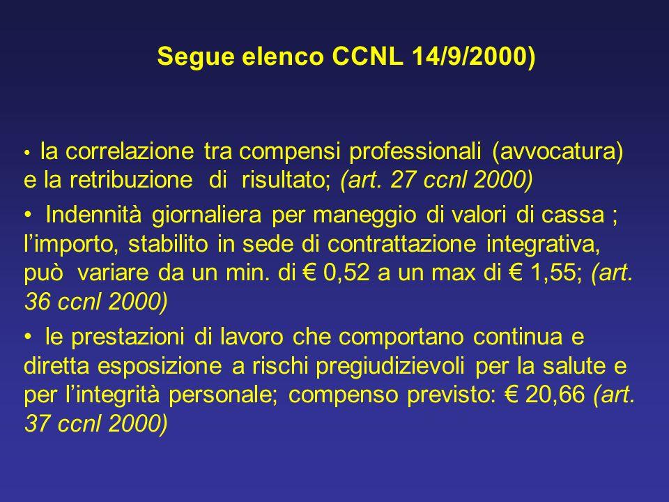 Segue elenco CCNL 14/9/2000)la correlazione tra compensi professionali (avvocatura) e la retribuzione di risultato; (art. 27 ccnl 2000)