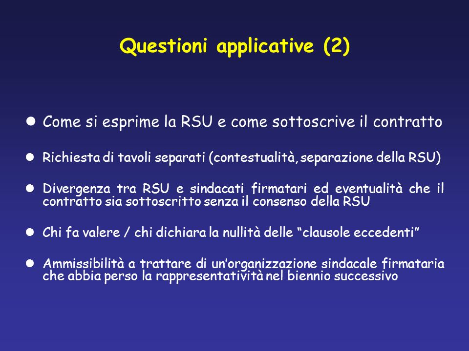 Questioni applicative (2)