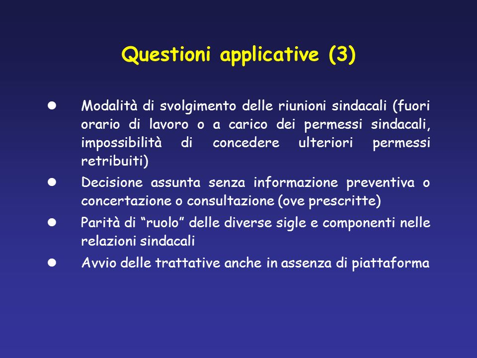 Questioni applicative (3)