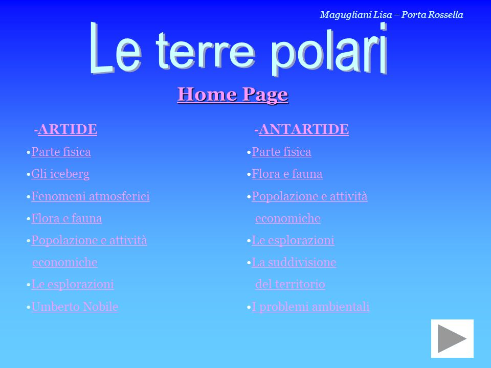 Le terre polari Home Page -ARTIDE -ANTARTIDE Parte fisica Gli iceberg