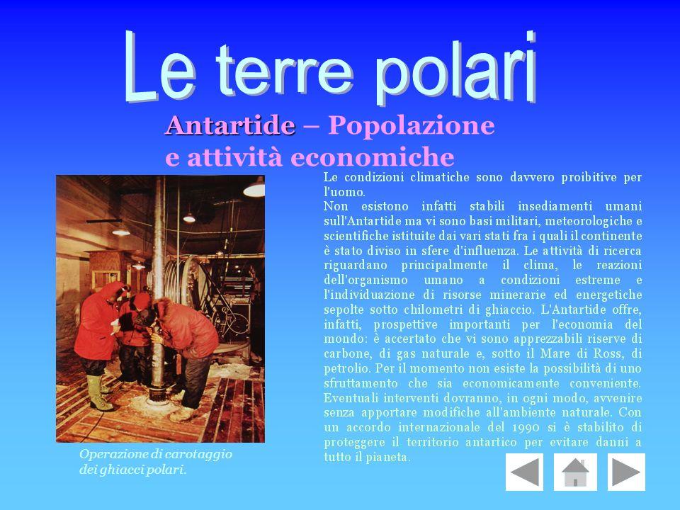 Le terre polari Antartide – Popolazione e attività economiche