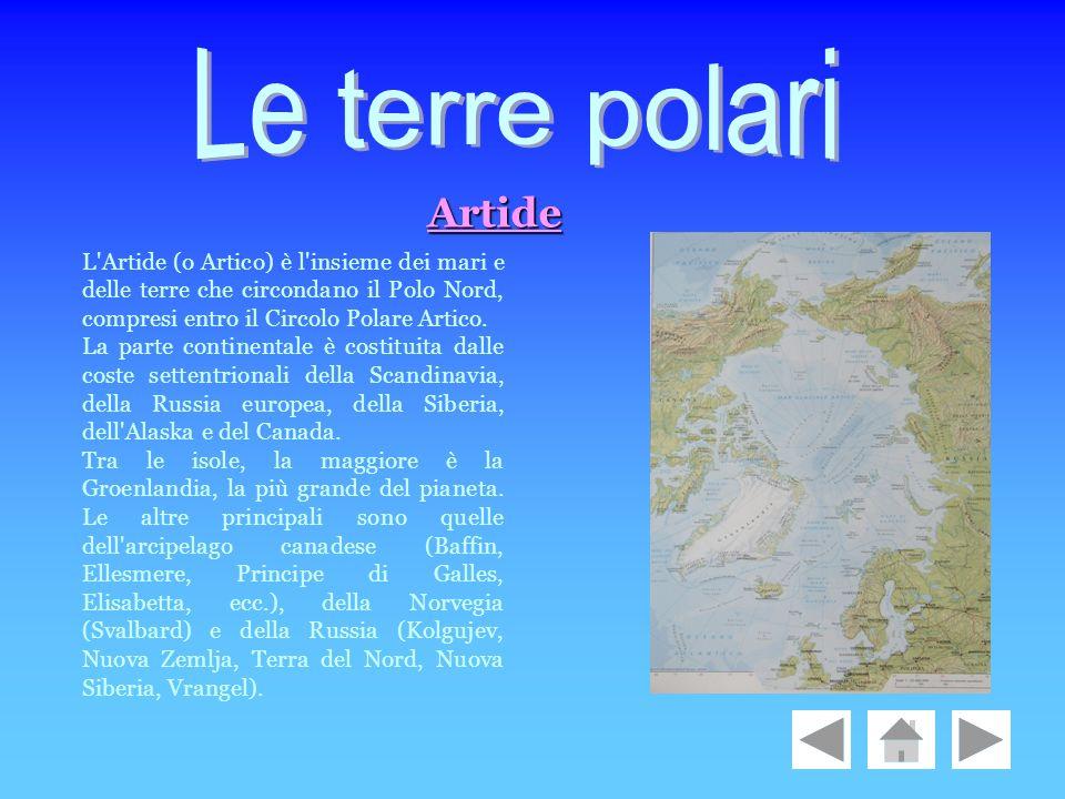 Le terre polari Artide. L Artide (o Artico) è l insieme dei mari e delle terre che circondano il Polo Nord, compresi entro il Circolo Polare Artico.