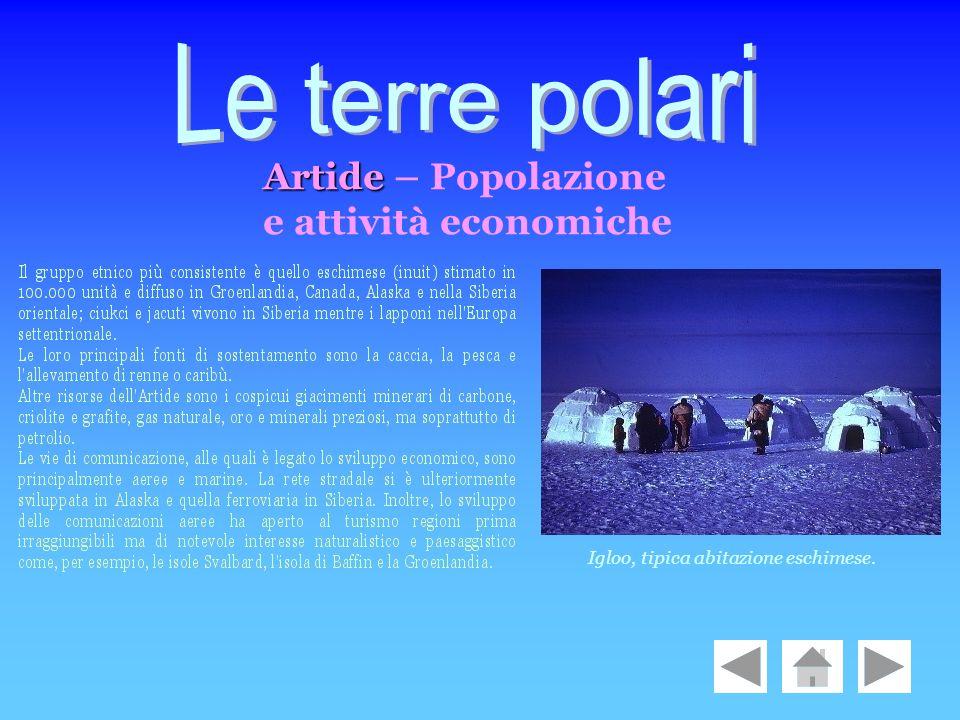 Le terre polari Artide – Popolazione e attività economiche